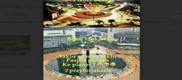 Meme warga Bekasi membully warga Jakarta yang terendam banjir.(twt)
