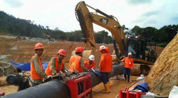 Pembangunan pipa gas.[IST]