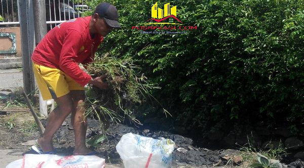 Kasi Humas Polsek Setu Aiptu Parjiman tampak mengangkut rumput saat bergotong royong di tempat tinggalnya Perumahan Bekasi Timur Regensi (BTR), Kelurahan Cimuning, Kota Bekasi.[IMA]