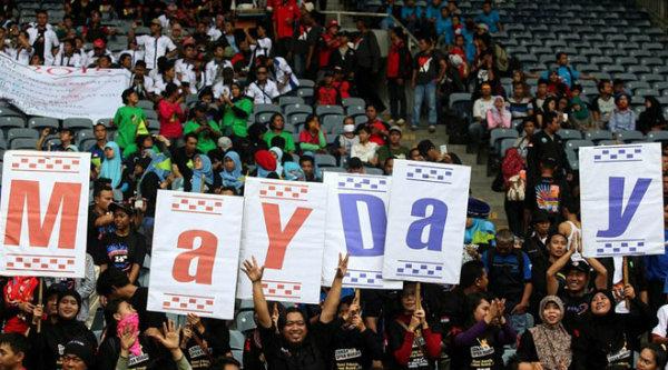 para buruh memperingati Hari Buruh Sedunia (May Day).[IST]