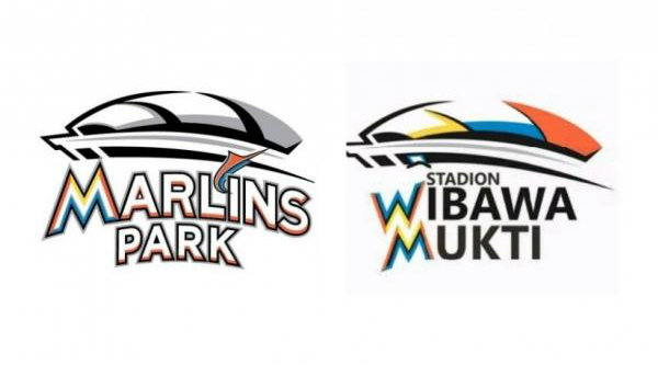 Perbandingan logo Marlins Park AS dengan Stadion Wibawa Mukti.[IST]