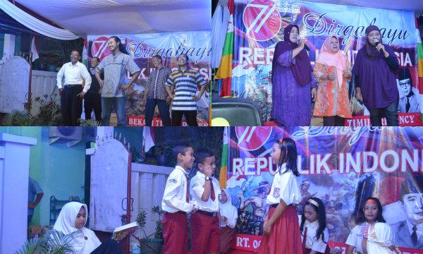 Tak kalah dengan tampilan anak-anak, para orangtua juga bergembira diatas panggung  memeriahkan HUT RI ke-71 dilingkungan RT007/013 BTR.[IMA]