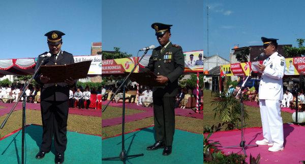 Dari kanan-kiri: Camat Setu Adeng Hudaya, Danramil/06 Setu Kaptain Inf Budi Wiyono dan Wakapolsek Setu Iptu H Yamin.[IMH]