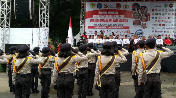Penampilan Pocil Polsek Tambelang di Parkir Selatan Gelora Bung Karno, Senayan Jakarta, pada Minggu 14 Agustus 2016.[IMA]
