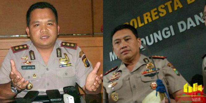 Kapolres Metro Bekasi Kota Kombes Pol Umar Surya Fana dan Kapolres Metro Bekasi Kombes Pol M Awal Chairuddin.[DOK]