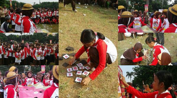 Para siswa SDN Padurenan 1 yang mengikuti Indonesia Scout Challenge 2016 di Lapangan Multiguna, Kota Bekasi, Sabtu 17 September 2016.[SUB]