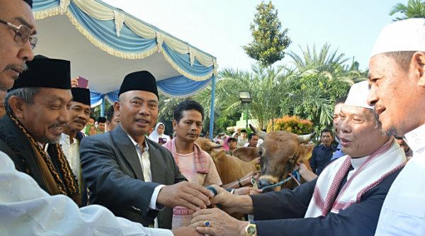 Walikota Bekasi H Rahmat Effendi dan Wakil Walikota Bekasi H Ahmad Syaikhu menyerahkan sapi kurban.[ISH]