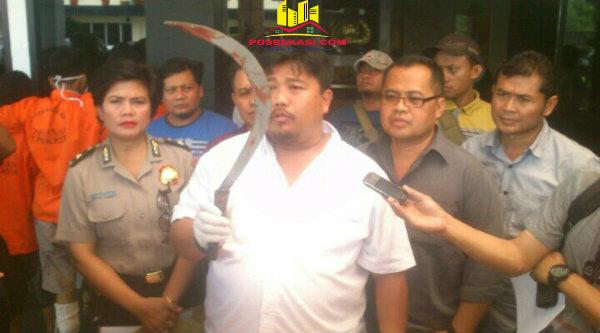 Kasat Reskrim Polres Metro Bekasi Kota, AKBP Dedy Supriadi, menunjukan clurit yang menancap di kepala korban oleh pelaku pembunuhan di Caman.[EZI]