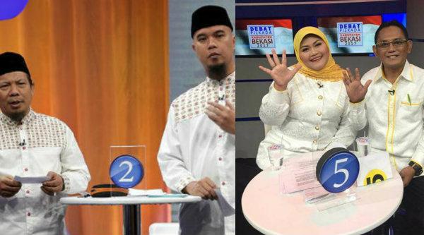 Pasangan calon Bupati dan Wakil Bupati Bekasi, Sa'duddin-Ahmad Dhani (SAH) dan Neneng Hasanah Yasin-Eka Supriatmaja (Neneng Yes).[IST]