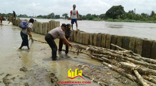 Binmaspol Aiptu Triyadi bersama warga Desa Pantai Bakti memperbaiki tanggul untuk membendung air tidak sampai ke pemukiman warga, Senin 13 Februari 2017.[RIS]