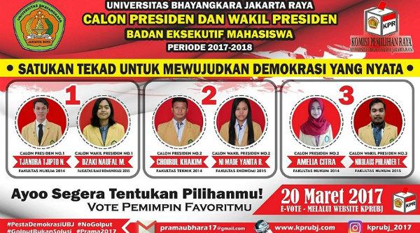 Tiga pasang calon Capres dan Cawapres BEM Ubhara Jaya.[IST]