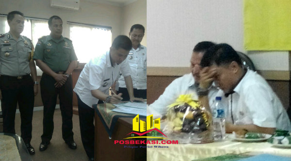 Foto kiri: Adeng Hudaya menandatangani serah terima jabatan kembali menjadi Camat Setu disaksikan Kapolsek Setu, Peltu Sunarto dan M Nabrih, Rabu 8 Maret 2017. Foto kanan: Tampak Adeng memegang kepala seperti 'galau' saat menyerahkan jabatannya kepada M Nabrih yang duduk disebelahnya, pada 11 Januri 2017 lalu.[HSB]