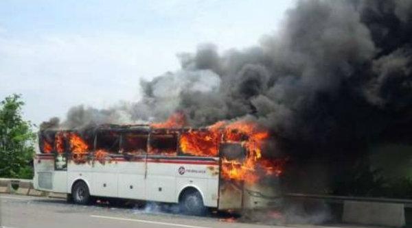 Bus Primajasa yang terbakar di ruas Tol Cikampek dekat Rest Area KM 39, Pasir Tanjung, Cikarang Pusat, Rabu 8 Maret 2017, pukul  12:47.[IST]