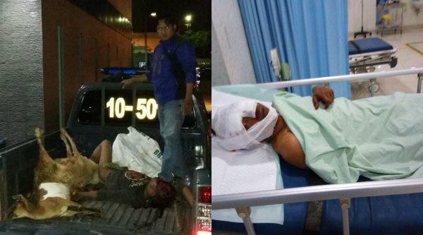 Pelaku pencuri kambing saat dievakuasi dan kini mendapat perawatan di RS Hosana Medica.[YAN]