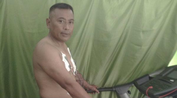 Kasi Humas Setu Aiptu Parjiman saat menjalani Rikkesla di Gedung Promoter Polrestro Bekasi, Senin 6 Maret 2017.[HSB]