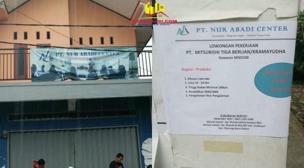 Kantor PT Nur Abadi Cahaya mengiming-iming calon tenaga kerja disalurkan pada perusahaan PT Mitsubishi Tiga Berlian/Kramayudha.[RAD]