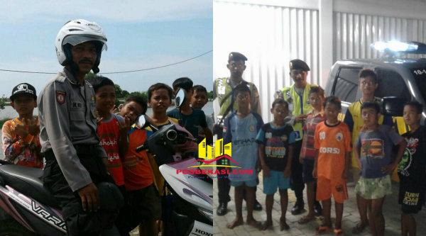 Kiri: Kanit Patroli Aipda M Muji bersama anak pantai sat patroli sepeda motor. Kanan: Kanit Patroli Aipda M Muji dan Brigadir Eko bersama anak-anak pantai saat parole mobile.[IMA]