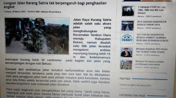 Laman resmi Pemkab Bekasi berbiaya rtausan juta memuat foto viral posbekasi.com.[YAN]