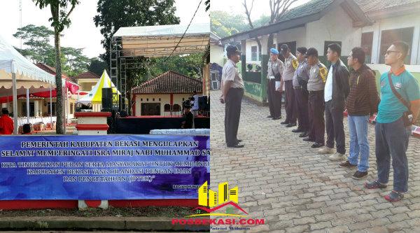 Waka Polsek Setu Iptu H Yamin memimpin apel persiapan pengamanan Isra Miraj di Balai Desa Burangkeng, Selasa 25 April 2017.[MIN]