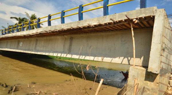 Jembatan ambles di Kampung Bagedor, Muara Gembong.[IST]