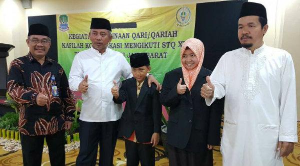 Walikota Bekasi, Rahmat Effendi, melepas qori dan qoriah Kota Bekasi mengikuti STQ VX di Kota Bandung, Jumat 7 April 2017.[ISH]