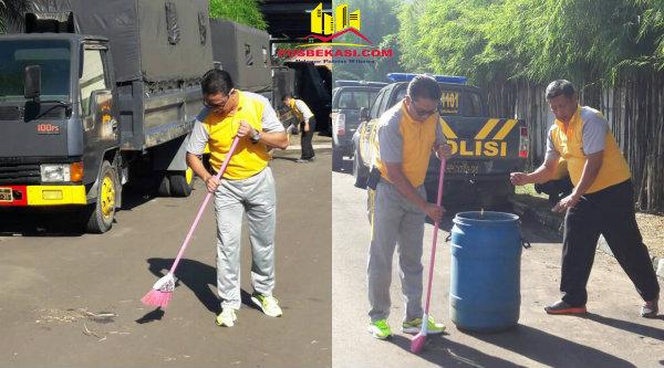 Polresro Bekasi melaksanakan aksi Sabsi membersihkan ruang kantor sampai lingkungan Mapolres guna memberikan pelayanan prima pada masyarakat.[HSB]