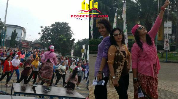Meriahkan Hari Kartini, senam Zumba diikuti 150 peserta mengenakan kabaya. Tiga instruktur senam Zumba, Zin Fiee Larasati, Zin Habzah dan Zin Dewi mengenakan kebaya.[AYU]