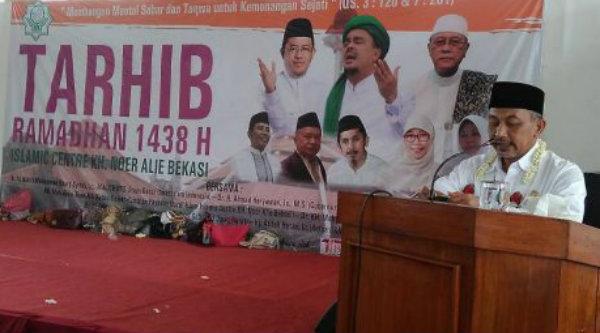 Wakil WaliKota Bekasi, Ahmad Syaikhu pada acara Tarhib Ramadhan di Islamic Center Kota Bekasi, Selasa 16 Mei 2017.[RIS]