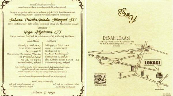 Undangan resepsi pernikahan Sahar & Yoga.[RAD]